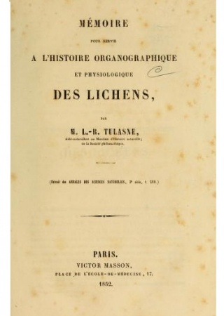 Mémoire pour servir à l'histoire organographique et physiologique des lichens
