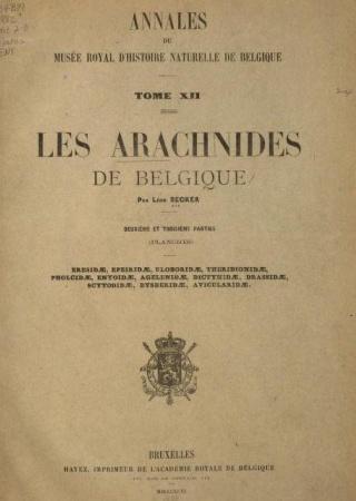 Les arachnides de Belgique