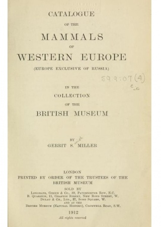 Catalogue of the mammals of Western Europe
