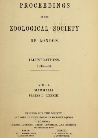 Proceedings of the Zoological Society of London v. 1 plates: Mammalia