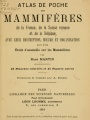 Atlas de poche des mammifères de France, de la Suisse romane et de la Belgique